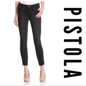 Pistola Raw Edge Ankle Zipper Black Skinny Jeans